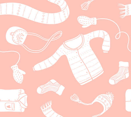Cute vector collection of handmade clothes isolated on the pink