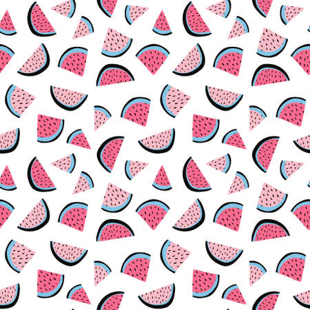 Summer tropical vector seamless pattern of watermelon wedges. Vector hand drawn illustration.