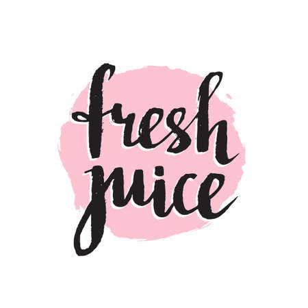 Pink orange grunge spot with stylish  Lettering - Fresh juice Calligraphy background isolated on the white. Vector Fruit banner.