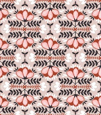 野生のバラ、ヴィンテージスタイルとベクトルシームレスな背景。手描きの生地デザイン。スタイリッシュな明るい花のシームレスなパターン。