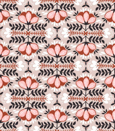 Vector seamless background with wild roses, vintage style. Hand drawn fabric design. Stylish bright floral seamless pattern.