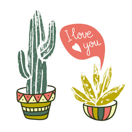 Vector Cactus hand-drawn poster. Grunge silhouette print linocuts. Cacti with dialogues. Fabric design with potted cacti and succulents.