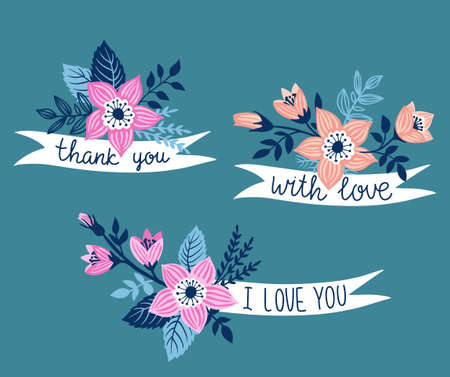Vector hand drawn ribbon with flowers and stylish phrase - thank you, with love, i love you. Floral design element. Isolated on the blue background.