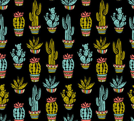 Vector Cactus hand-drawn seamless pattern. Grunge silhouette print linocuts. Fabric design with potted cacti and succulents.