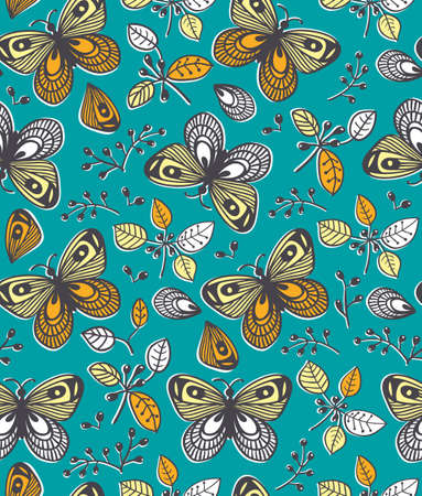 Vector seamless pattern with flowers, butterfly and berries on the orange background, cartoon illustration
