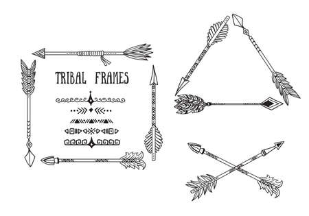 Arrow set in Native American Indian style. Vector hand drawn hipster illustration isolated on white background.