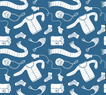 Cute vector collection of handmade clothes isolated on the blue background.