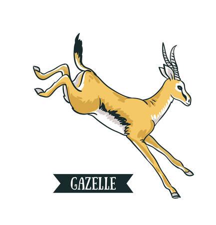 Antelope afbeelding. Digitale het schilderen volledige die de stijlillustratie van het kleurenbeeldverhaal op witte achtergrond wordt geïsoleerd. Hand getrokken element ontwerp.
