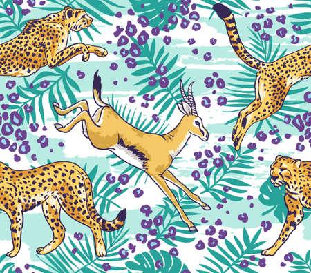 Luipaard  cheetah en palmbladen tropisch naadloos patroon. Stijlvolle wilde vector achtergrond.