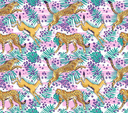 Leopard  cheetah and palm leaves tropical seamless pattern. Stylish wild vector background. Illusztráció