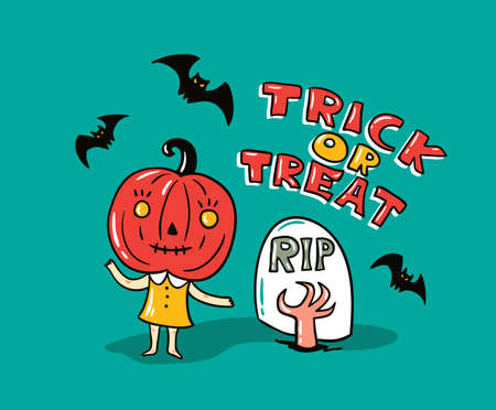 Halloween card with stylish lettering - Trick or tread. Vector Illustration of Halloween theme with phrase, pumpkin, bats and children.