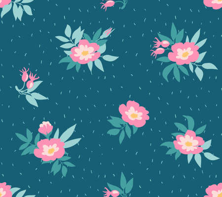 Vector seamless pattern with wild roses on the dark blue background, vintage style. Hand drawn fabric design. Stylish bright floral seamless pattern. Ilustração