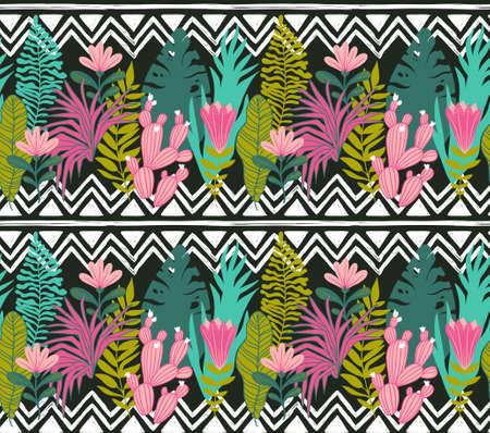 즙이 많은 선인장 공장 벡터 원활한 패턴. 식물 녹색 사막 식물 직물 인쇄입니다. 홈 정원 만화 선인장, 벽지, 커튼, 식탁보에 대 한 기하학적 장식으로