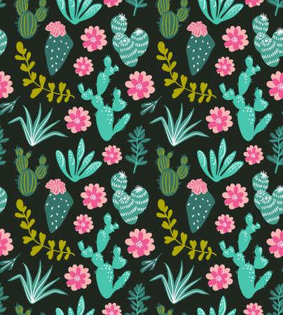 즙이 많은 선인장 공장 벡터 원활한 패턴. 식물 녹색 사막 식물 직물 인쇄입니다. 홈 정원 만화 선인장과 열 대 꽃 벽지, 커튼, 식탁보.