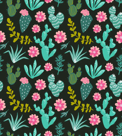 Succulents cacti plant vector seamless pattern. Botanical green desert flora fabric print. Home garden cartoon cactuses and tropical flowers for wallpaper, curtain, tablecloth.