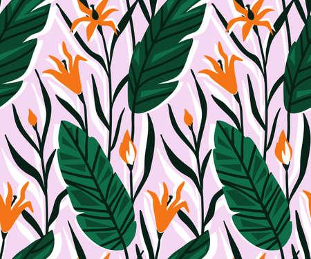 Vector naadloos patroon met heldere tropische bloemen en palmblad. Hand getrokken achtergrond. Stock Illustratie