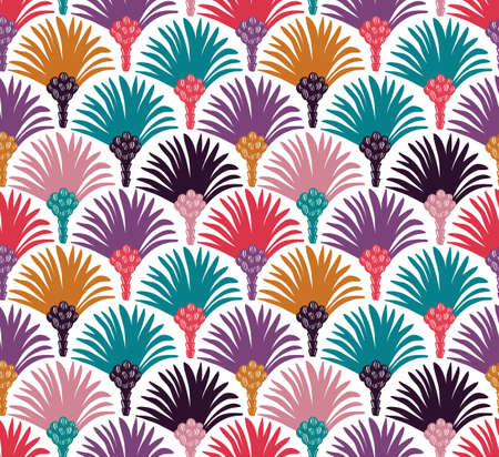 Decorative vector seamless pattern with palm trees. Bright fabric design. Stok Fotoğraf - 94504441