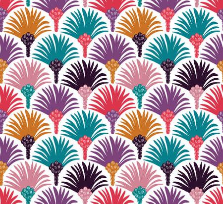 Decorative vector seamless pattern with palm trees. Bright fabric design. Ilustração