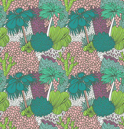 Vector seamless pattern with palm trees. Bright hand drawn fabric design.