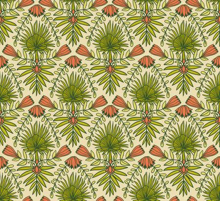 熱帯の花とヤシの葉を持つベクトルシームレスなパターン。明るい生地のデザインのための熱帯の装飾的な背景。