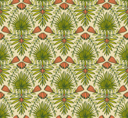 Vector seamless pattern with tropical flowers and palm leaves. Tropical ornamental background for bright fabric design. Ilustração