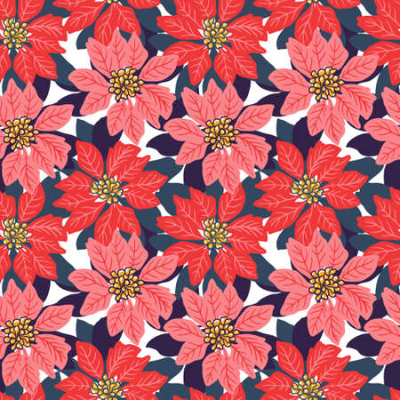 Seamless Christmas background with red and pink poinsettias. Vector illustration.