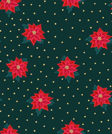 Seamless Christmas background with red poinsettias and gold beads. Vector illustration. Floral fabric design.