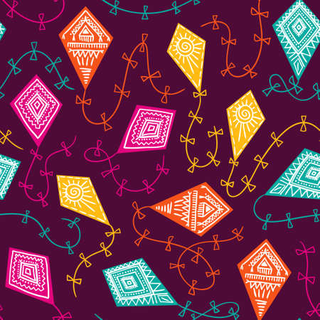 空に凧とシームレスなパターン。ベクトル幼稚な生地のデザイン。明るい背景。
