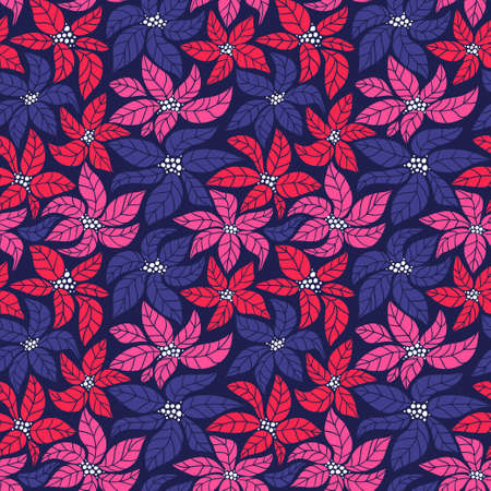 Seamless Christmas background with red, blue and pink poinsettias. Vector illustration.
