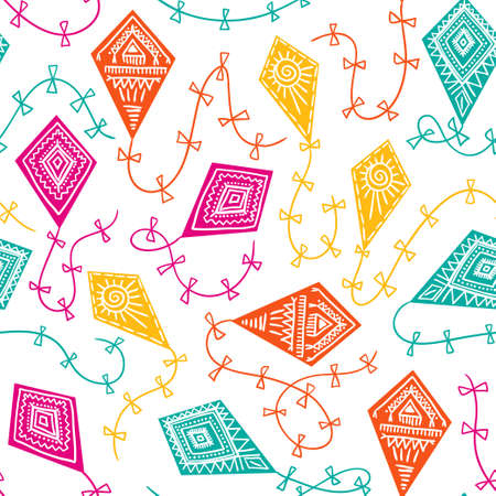 Seamless pattern with kites in the sky. Vector childish fabric design. Bright background.