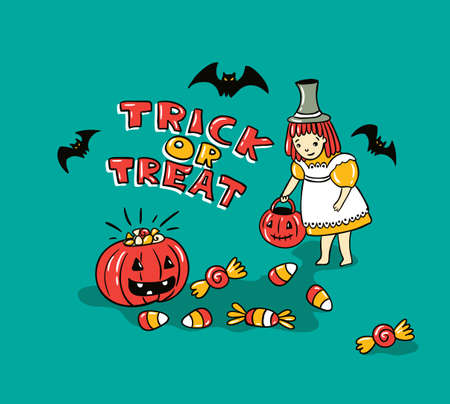 Halloween card with stylish lettering - ' Trick or tread '. Vector Illustration of Halloween theme with phrase, pumpkin, bats and children. Imagens - 94504451