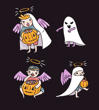 Set of halloween characters. Children in costumes. Ghost and angels with pumpkin and sweets isolated on the dark background. Trick or treat vector illustration.