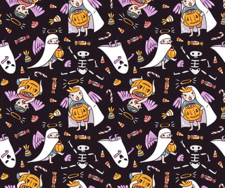 Seamless pattern with halloween characters. Children in costumes. Ghost and angels with pumpkin and sweets isolated on the violet background. Trick or treat vector illustration.