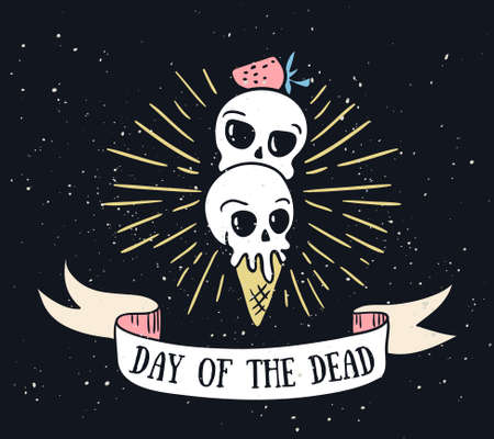 Day of the dead lettering greeting card. Vector holiday background. Hand drawn stylish illustration with text and sweet skulls. Ilustração
