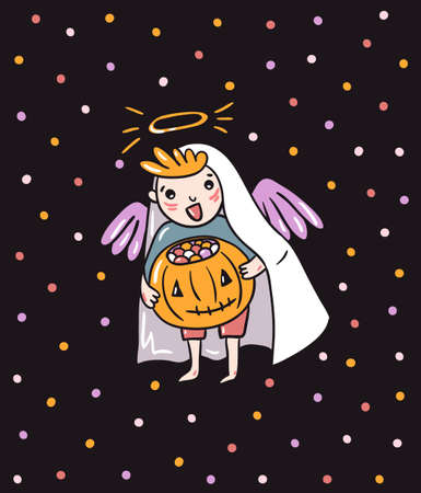 Halloween greeting card - Trick or treat. Vector holiday background. Hand drawn stylish illustration with  child angel costume on the confetti backdrop.