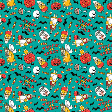 Halloween seamless pattern design. Vector background with children in costumes, pumpkin, sweets and stylish lettering Trick or tread