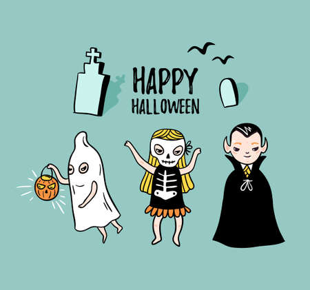 Halloween card with stylish lettering - happy halloween . Vector Illustration of Halloween theme with children - vampire, ghost and skeleton. Children in costumes.  イラスト・ベクター素材