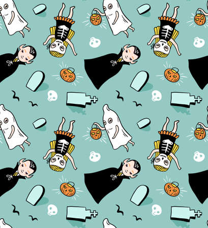 Halloween seamless pattern. Vector background with children in costumes. Illustration with vampire, ghost and skeleton. Ilustração