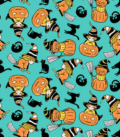 Colorful childlike seamless pattern with witches and pumpkins. Vector halloween pattern. Illustration