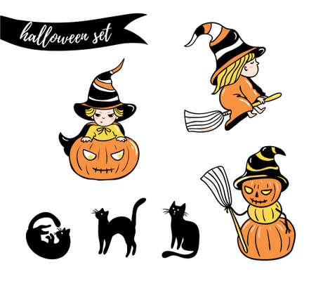 Set of halloween characters. Children in costumes. Witches and cats  isolated on the white background. Vector illustration.