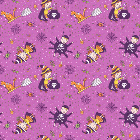 Violet background with the witch, a spider and a potion from magic herbs. Festive seamless texture. Vector seamless pattern for halloween design. Ilustração