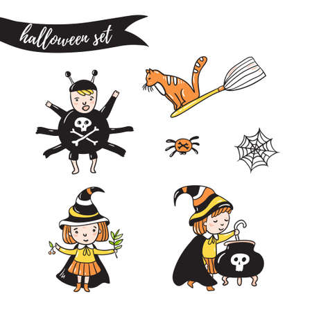 Set of halloween characters. Children in costumes. witches, spider and cat  isolated on the white background. Vector illustration.