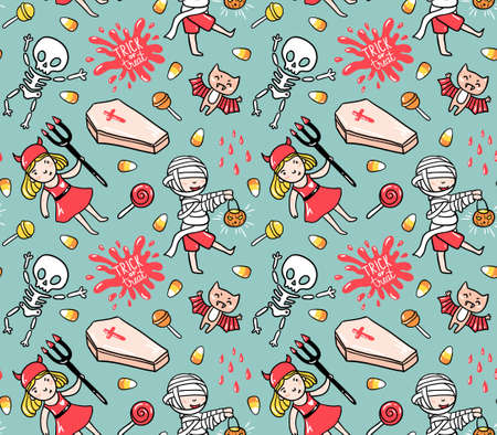 Halloween seamless pattern with children in costumes and stylish lettering - trick or treat. Holiday vector  background with skeleton, zombie and bat.