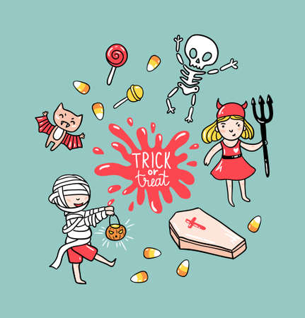 Halloween greeting card with children in costumes and stylish lettering - trick or treat. Holiday vector  background with skeleton, zombie and bat. 일러스트