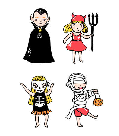 Set of halloween characters. Children in costumes. Vampire, devil, ghost and skeleton  isolated on the white background. Vector illustration. Ilustração