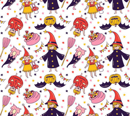 Seamless halloween pattern with children in costumes. Witch and pumpkin background. Trick or treat vector illustration. Ilustração