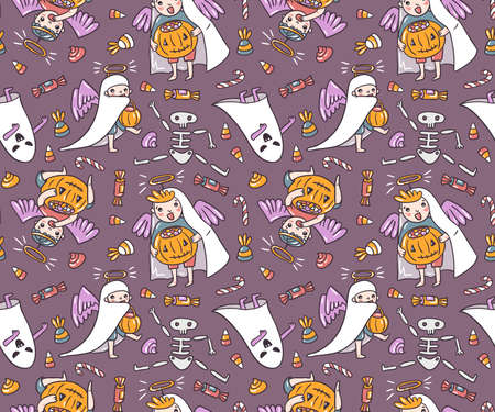Halloween characters seamless pattern. Children in costumes, ghost and angels with pumpkin and sweets isolated on the violet background. Trick or treat vector illustration.