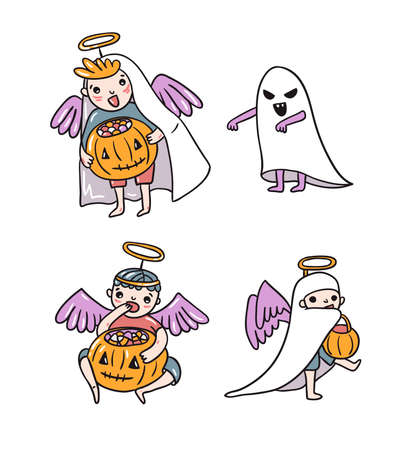 Set of Halloween characters, children in costumes. Ghost and angels with pumpkin and sweets isolated on the white background. Trick or treat vector illustration. Ilustração