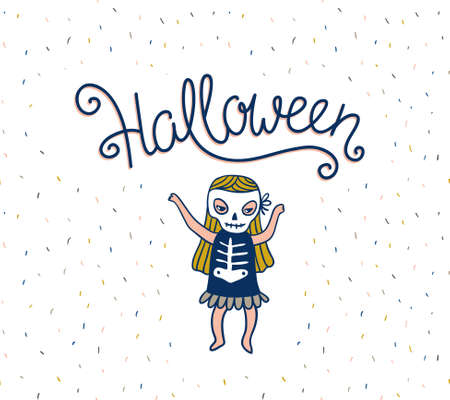 Halloween lettering greeting card. Vector holiday background. Hand drawn stylish illustration with text and child skeleton costume.
