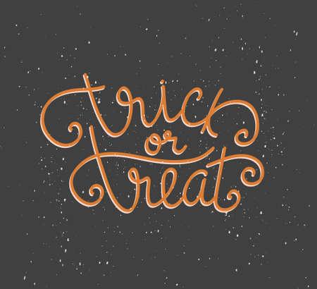 Trick or treat hand drawn Halloween lettering, vector illustration for greeting card, poster or print design. Ilustração